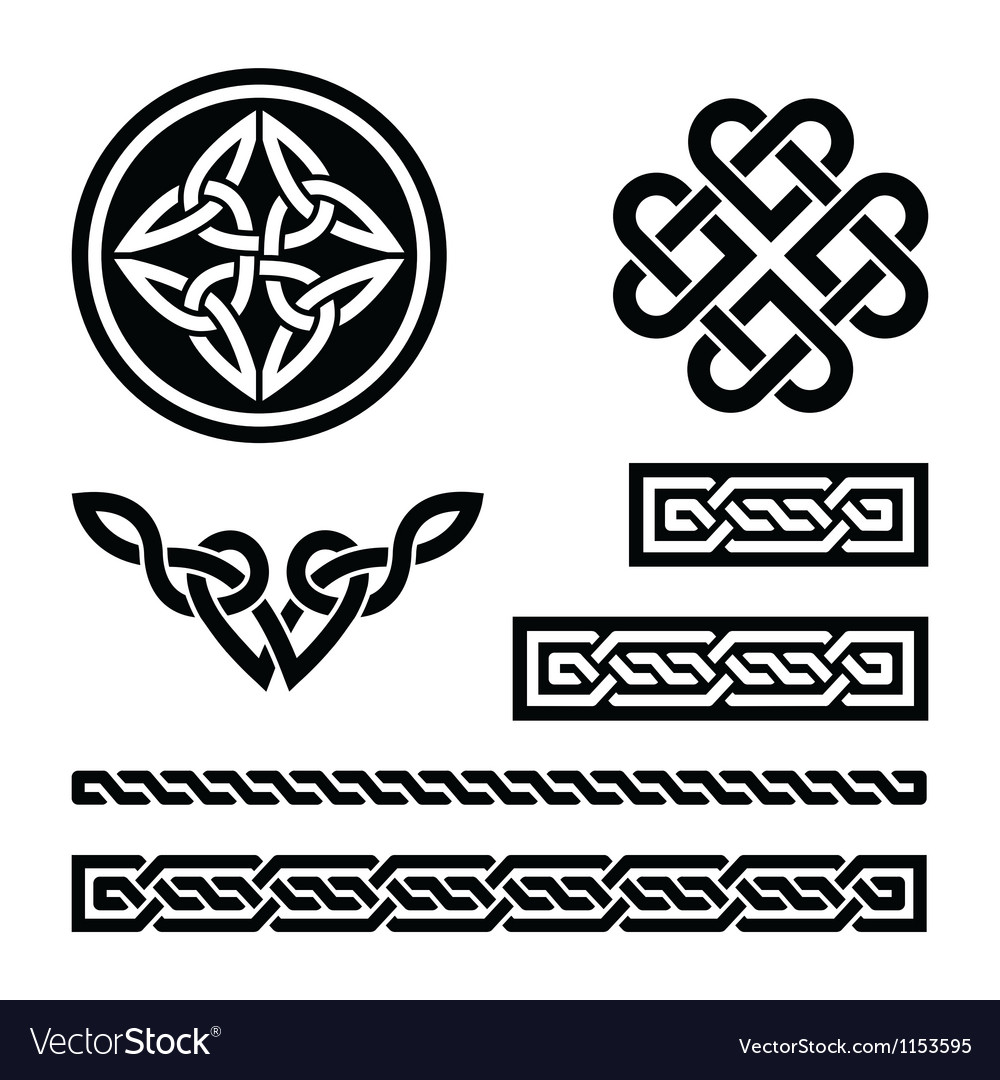 Celtic knots braids and patterns vector image