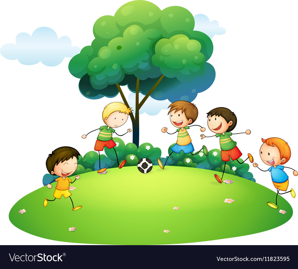 Children playing football in the park vector image