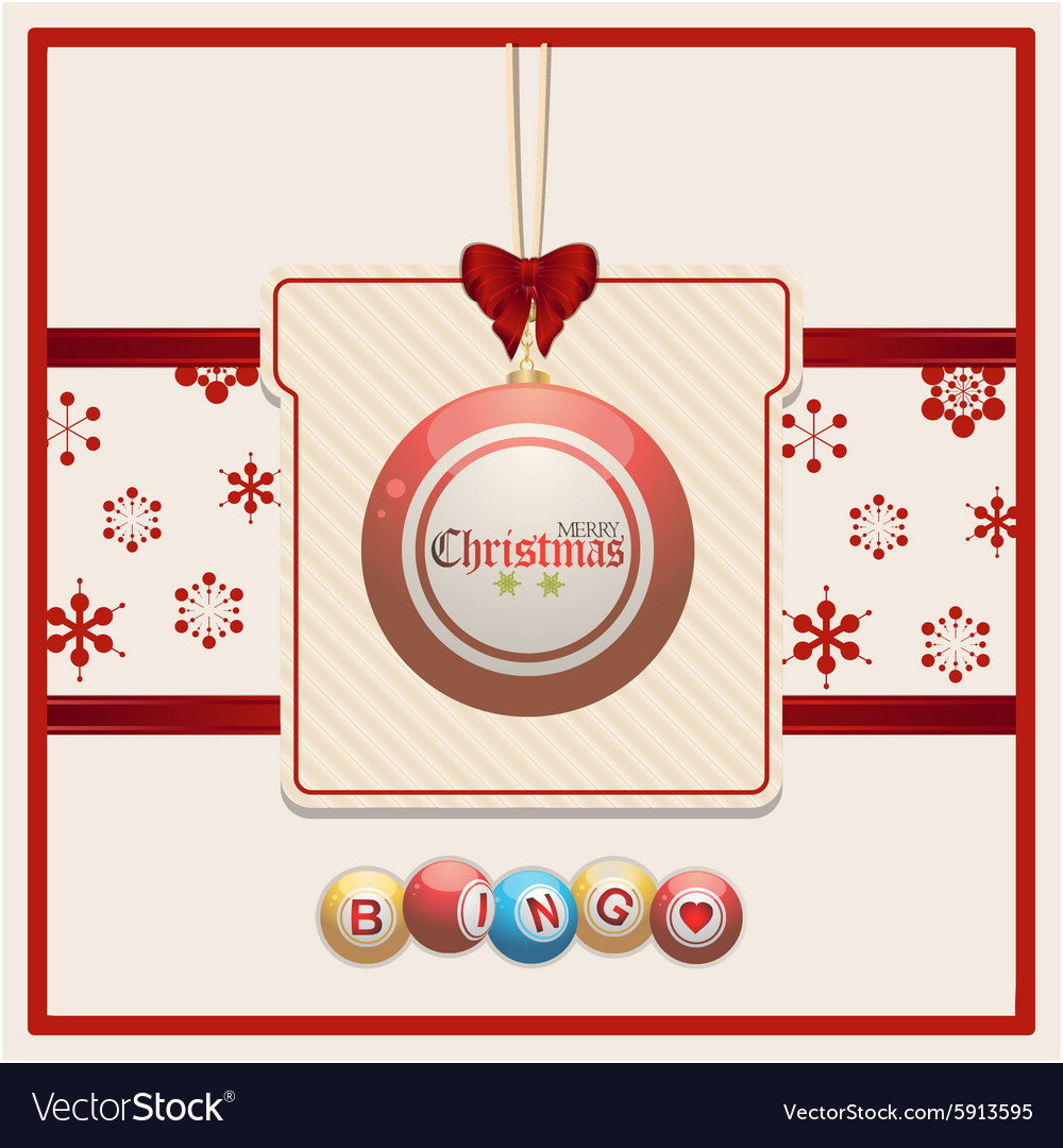 Christmas Bingo.Christmas Bingo Tag On Red And Cream Background
