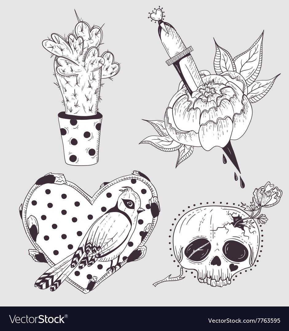 Cute tattoo set