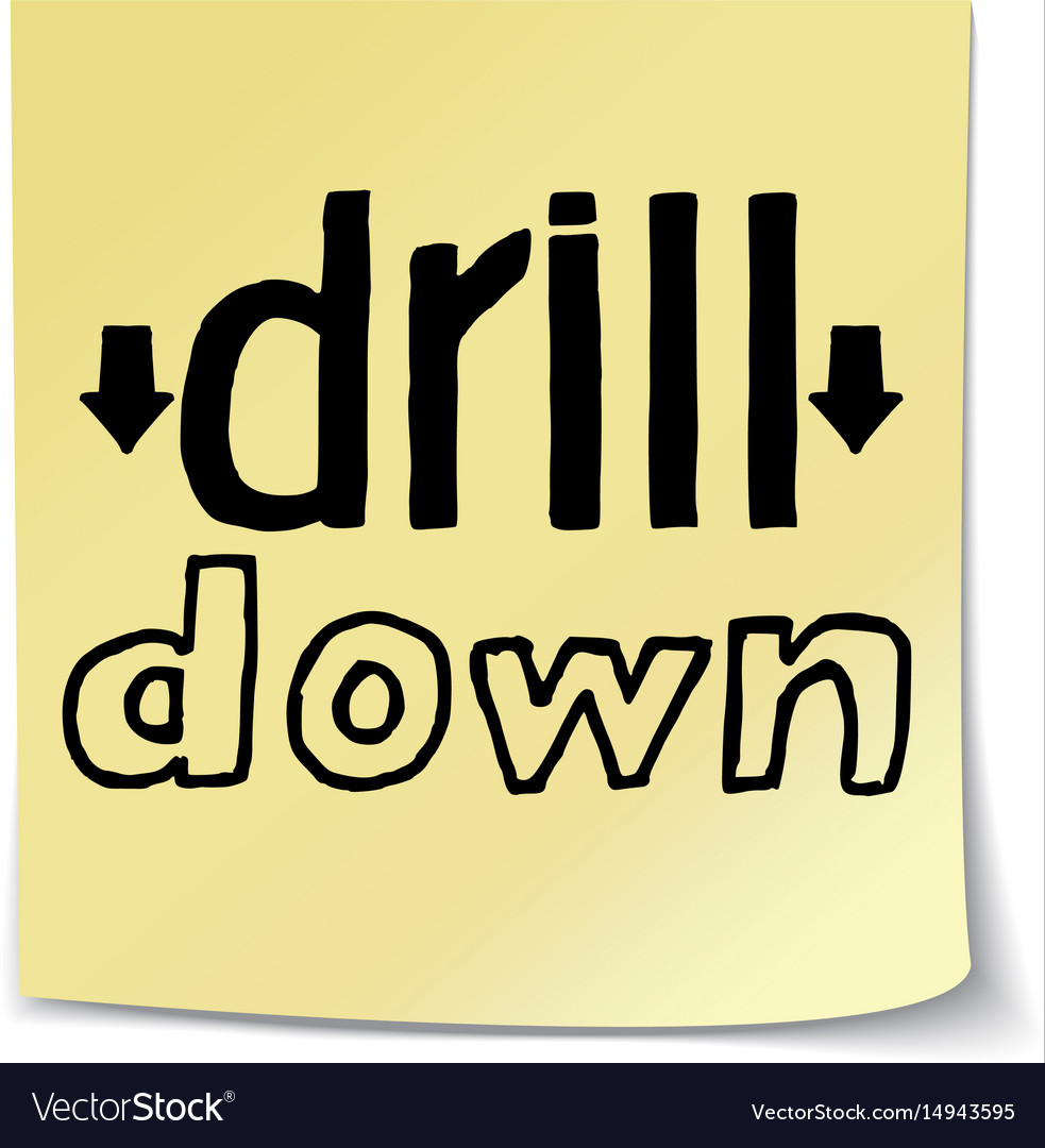Drill down lettering on sticky note template vector image