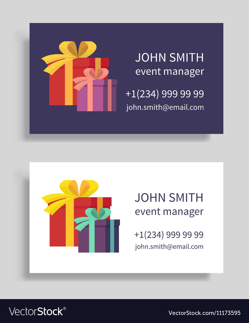 Event manager business card with gift boxes vector image reheart Gallery