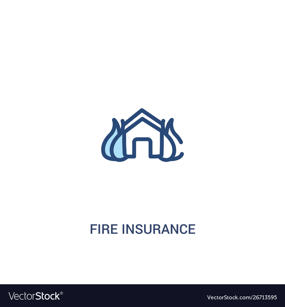Fire Insurance Concept 2 Colored Icon Simple Line Vector Image