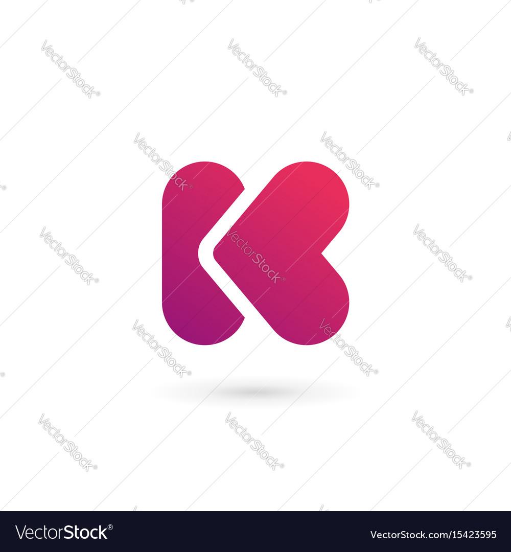 letter k heart logo icon design template elements vector image