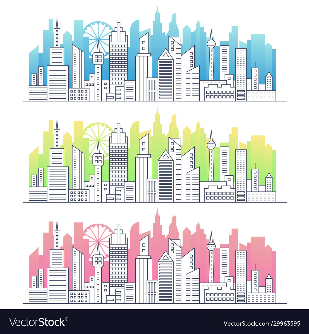 Modern line art modern big city cityscape