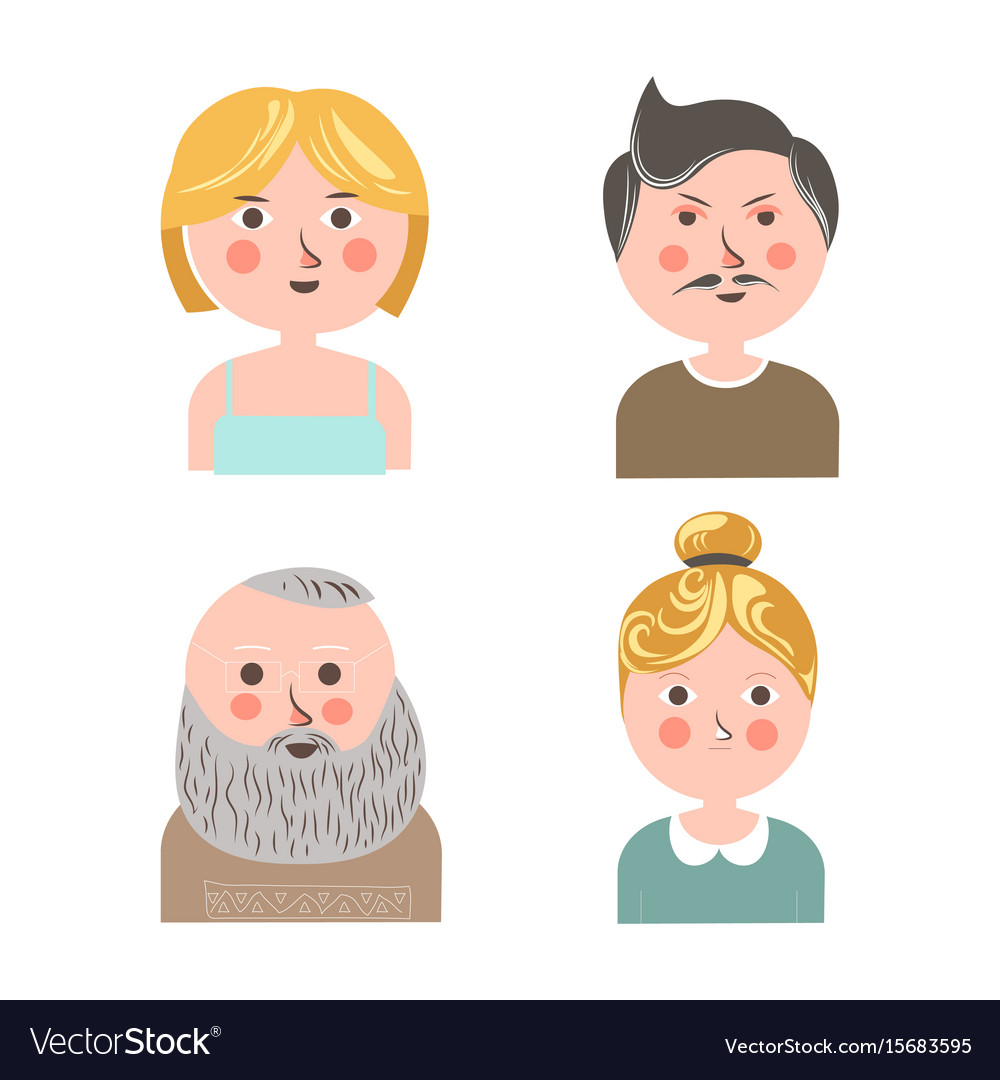 People face avatars for applications or web vector image