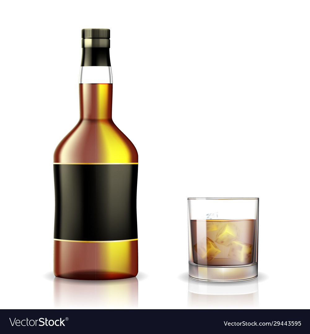 Set whiskey rum bourbon or cognac glasses and