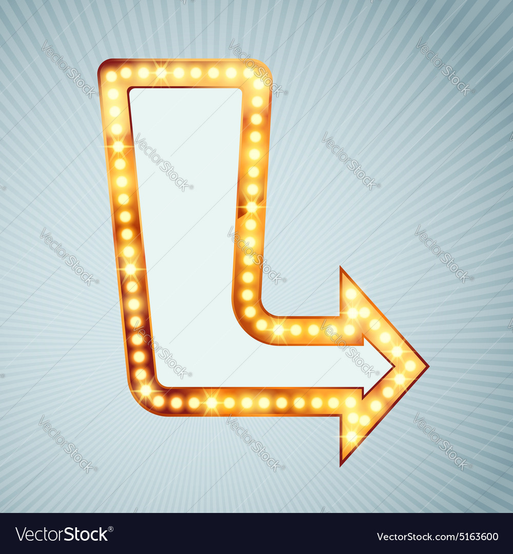 Bright light bulb pointing arrow sign vector image