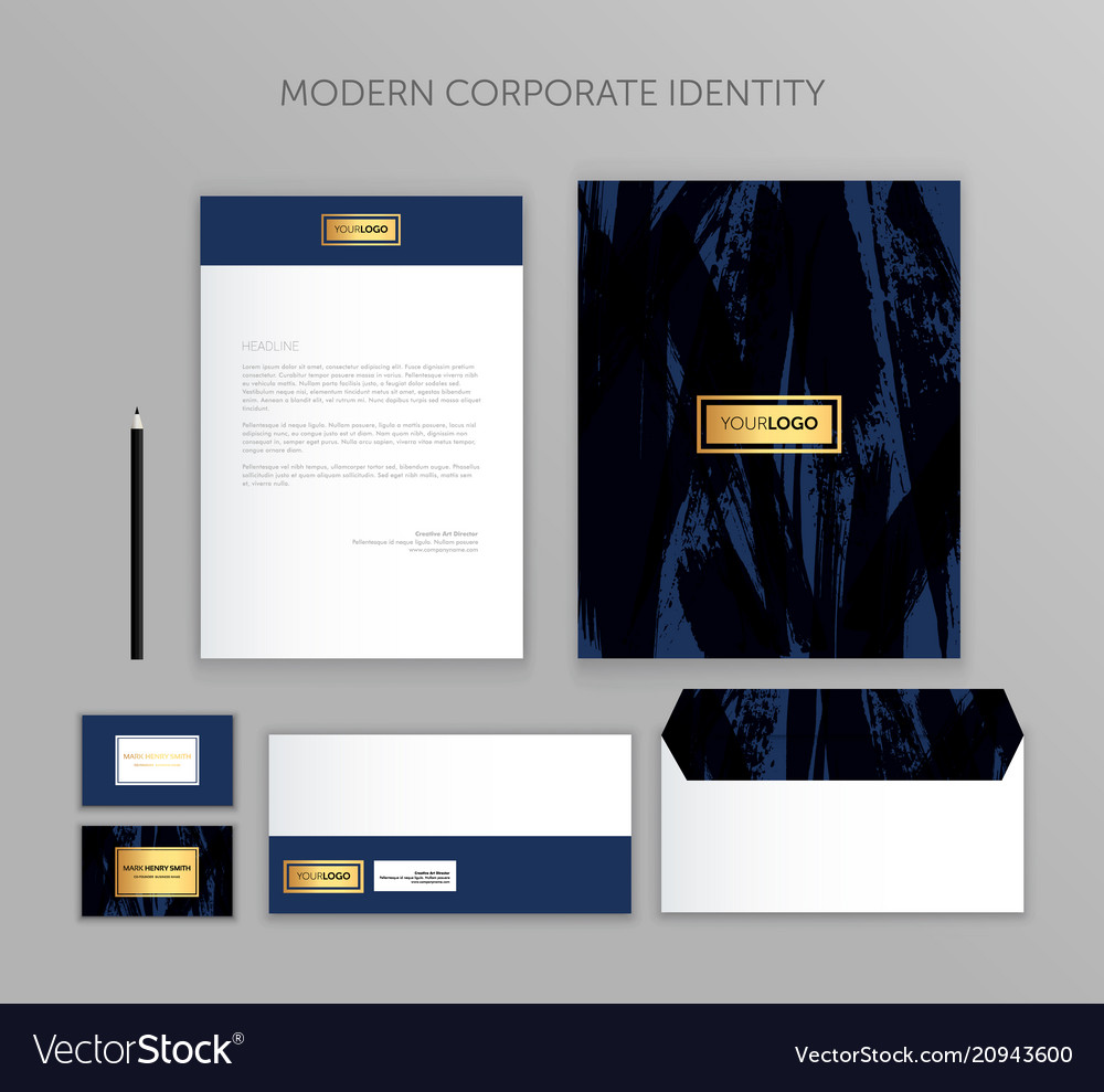 Corporate identity business set modern stationery