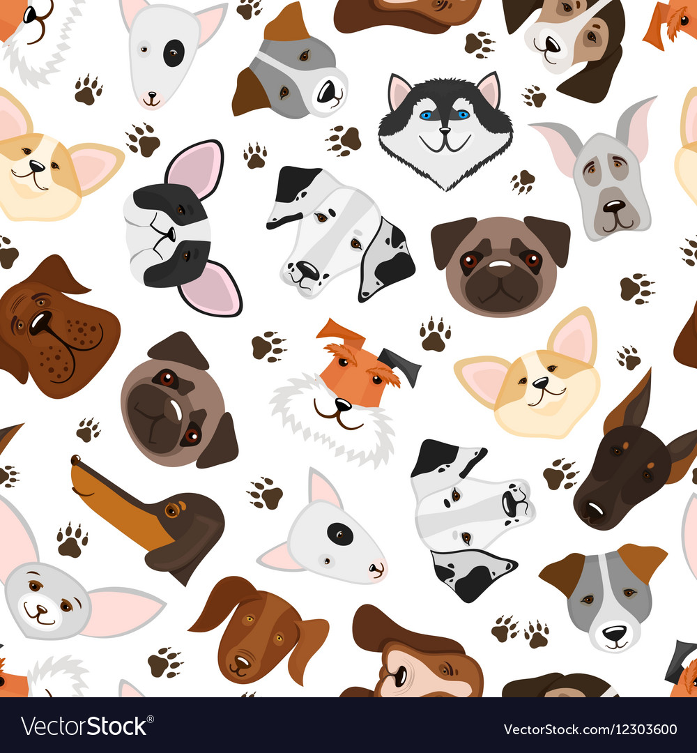 Cute puppy and dog mixed breed seamless pattern