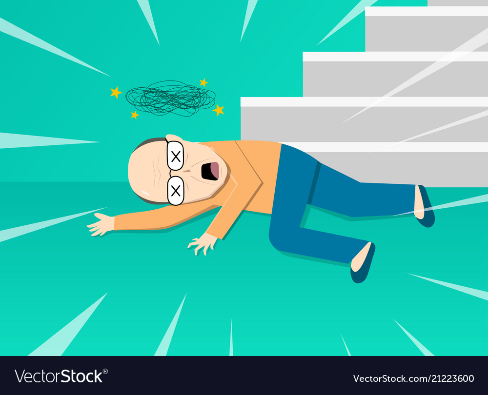 Fainted old man after falling from staircase art