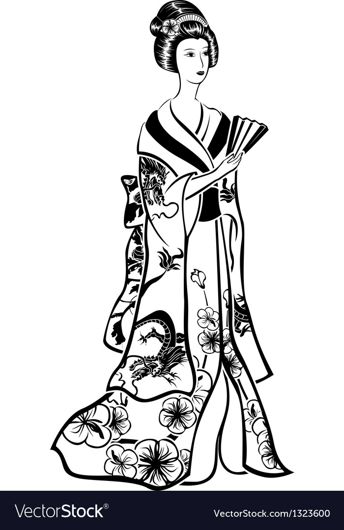 Geisha in traditional costume