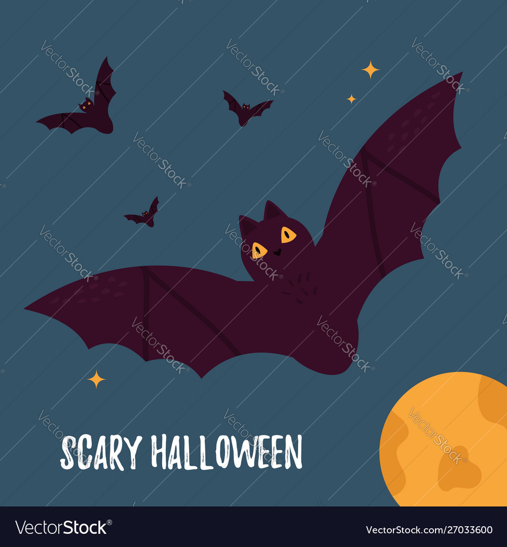 Halloween holiday card with flying bats and moon