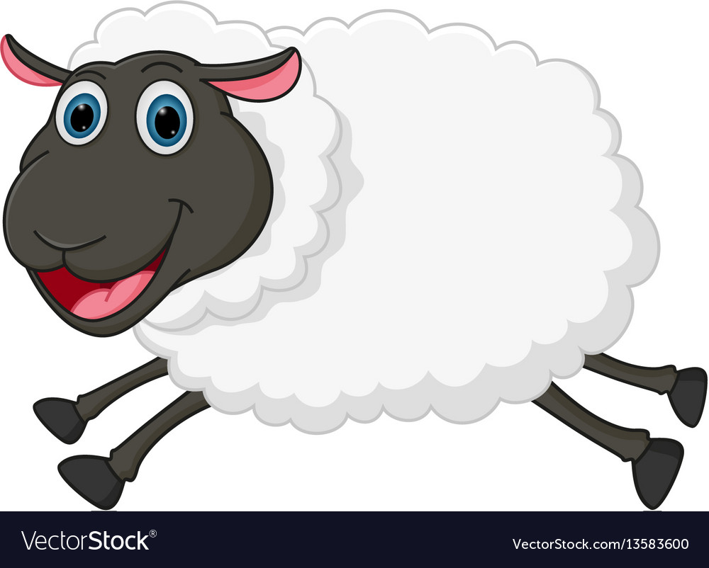 Happy sheep jumping