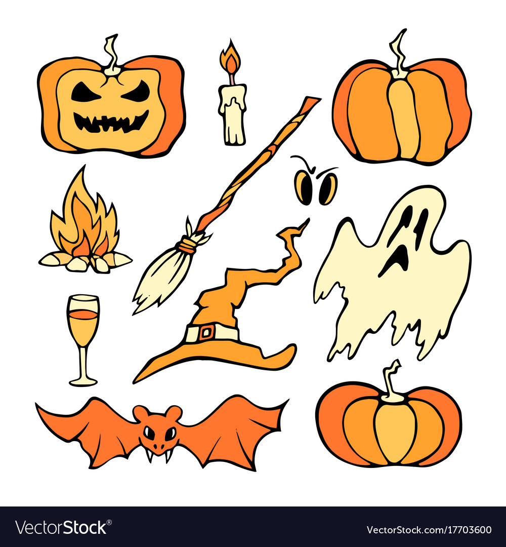 Helloween set color pumpkin and other horror vector image