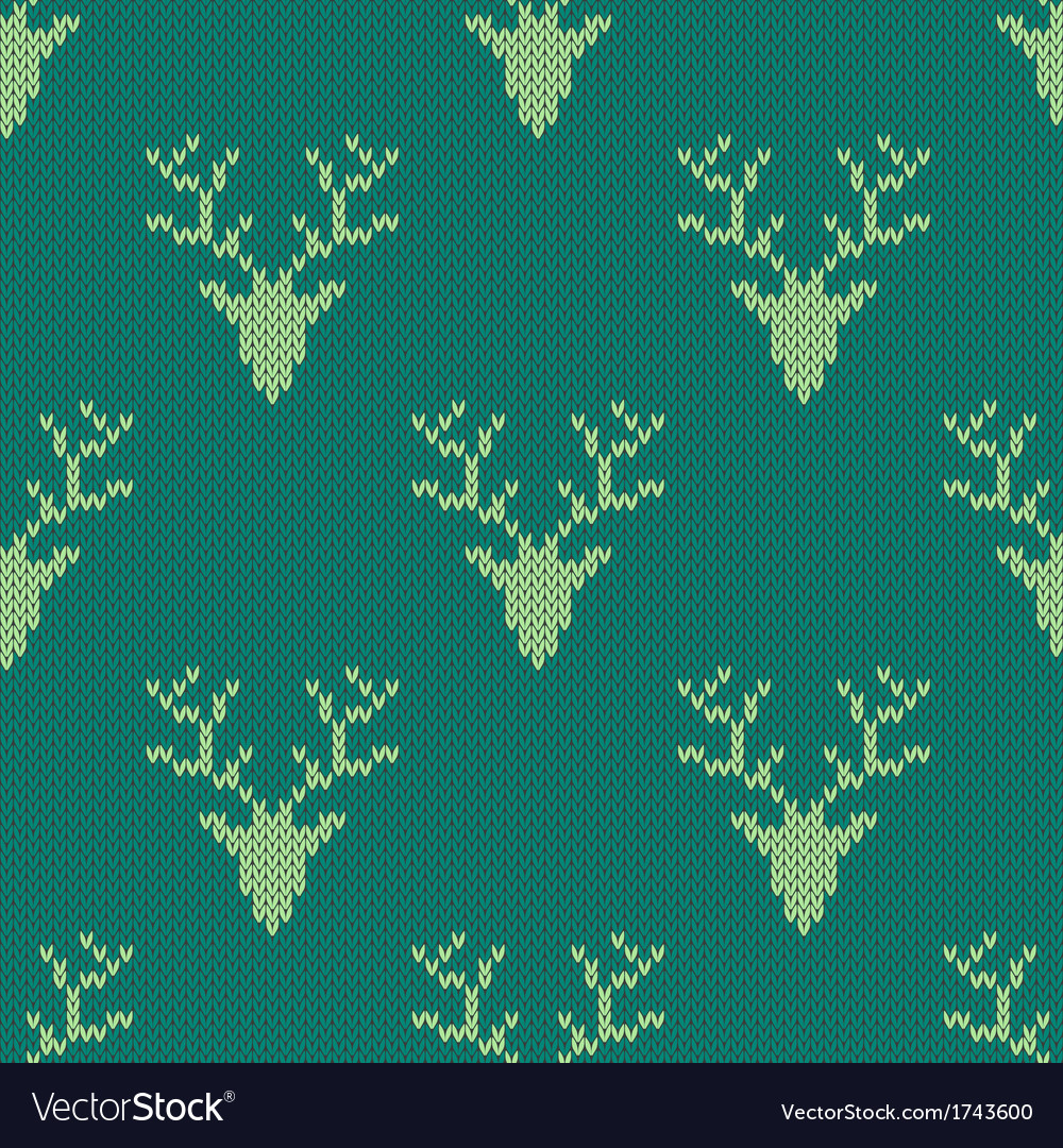 Knitted sweater with deer seamless pattern