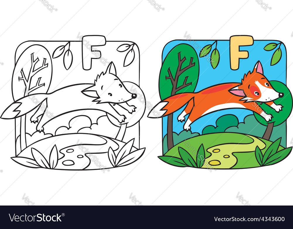 Little red fox coloring book Alphabet F Royalty Free Vector