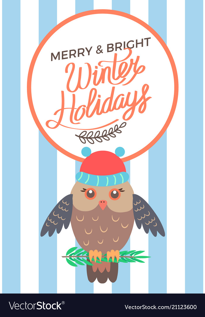 Merry and bright winter holidays poster owl