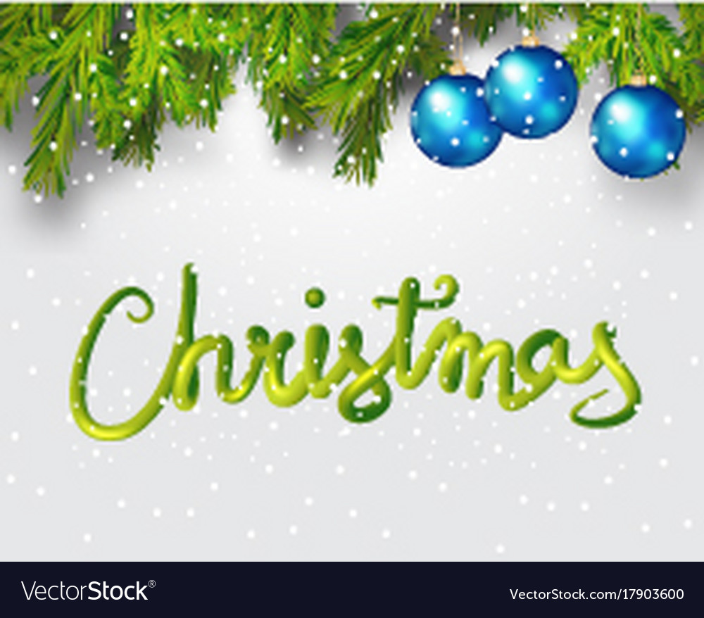 Merry christmas 3d lettering xmas placard cover Vector Image