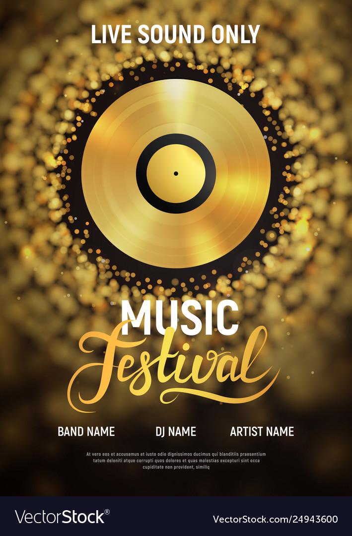 Music festival poster template musical invitation