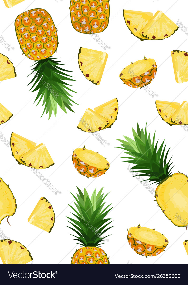 Pineapple fruits and slice seamless pattern on
