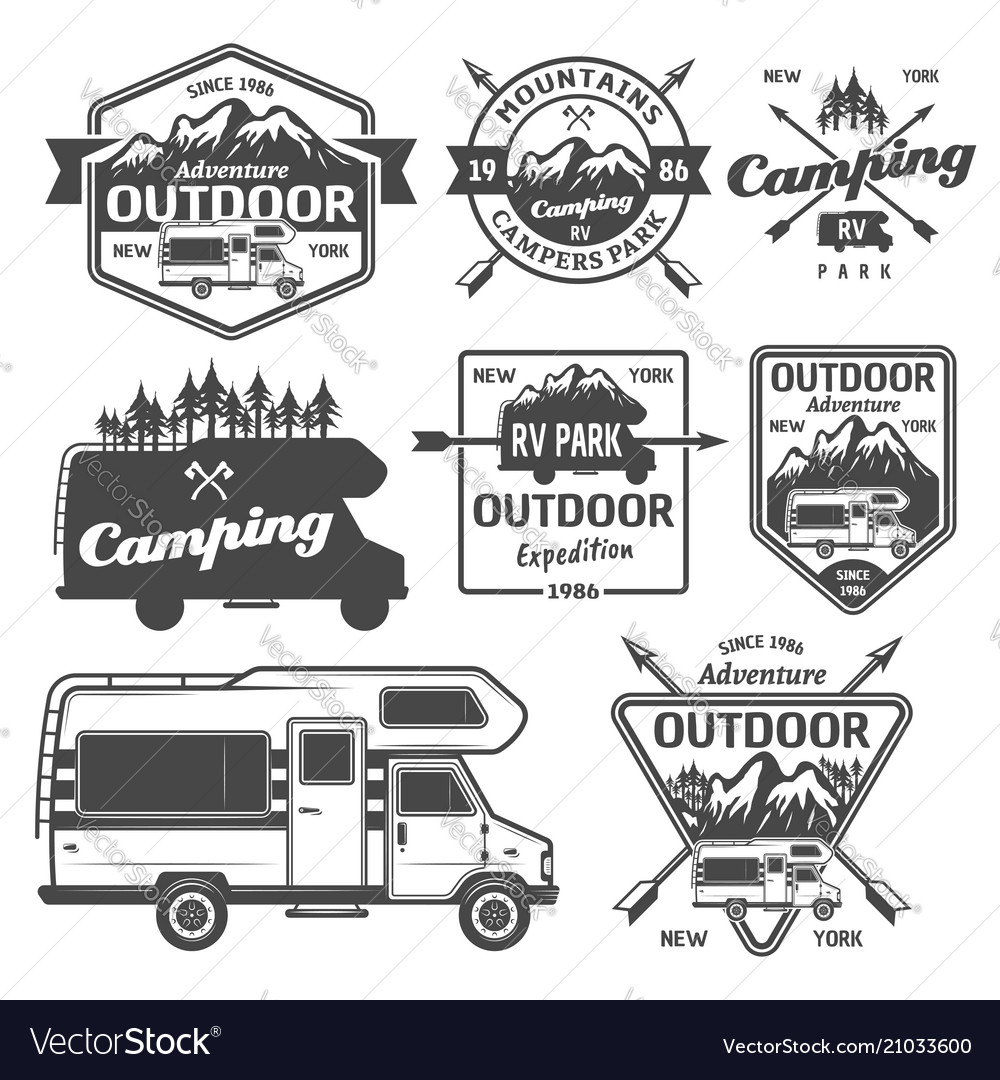 Rv camping outdoor recreation emblems