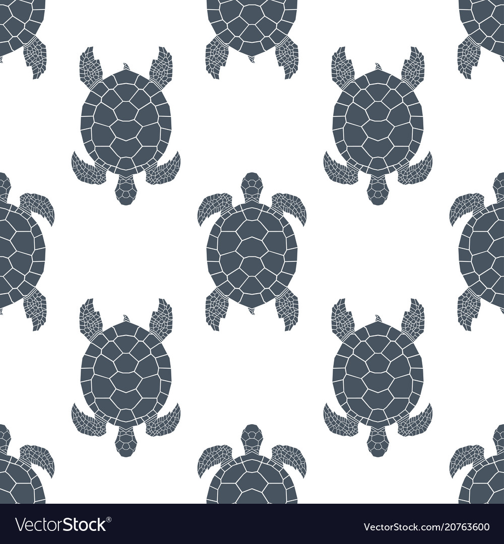 Seamless pattern with sea turtles cheloniidae