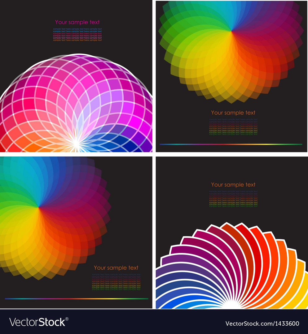 Set of four abstract background with spectrum