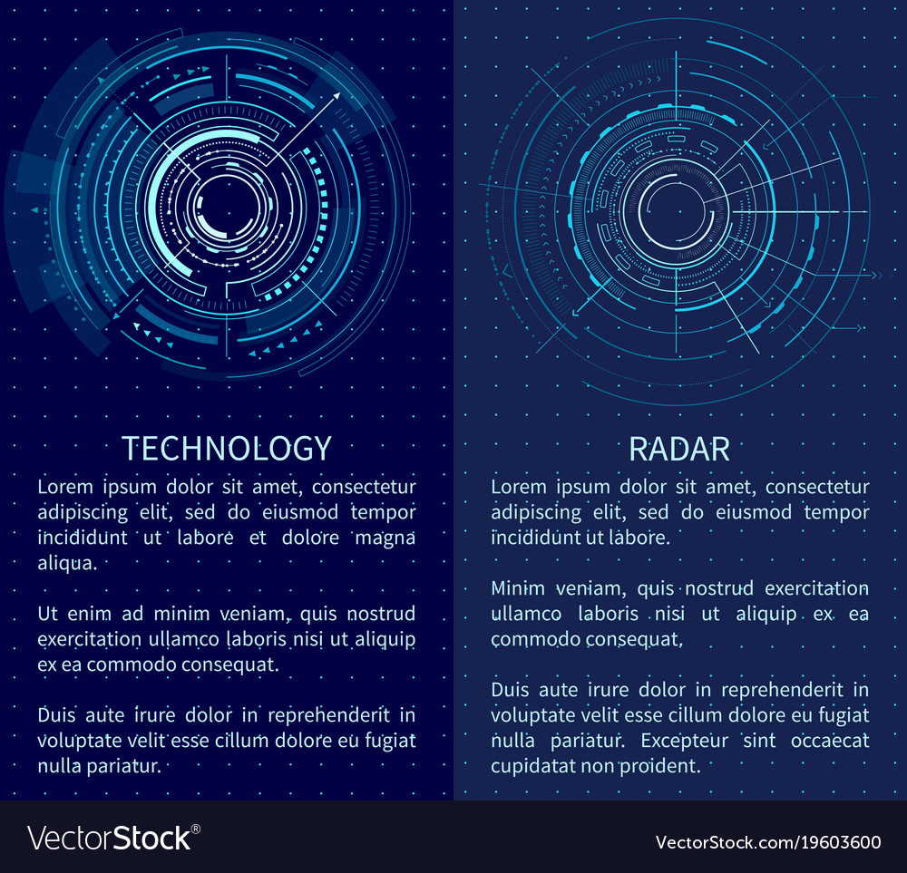 Technology banner with two interface patterns