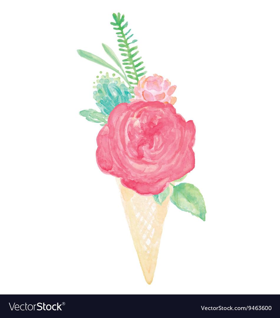 Watercolor Flower Bouquet Cone Vase Set