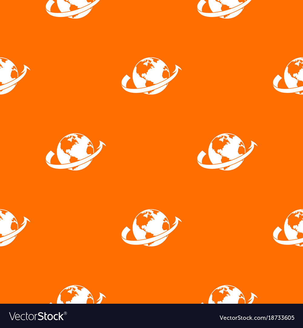 Airplane fly around the planet pattern seamless