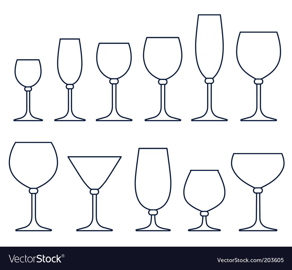 Alcoholic drink glasses vector image