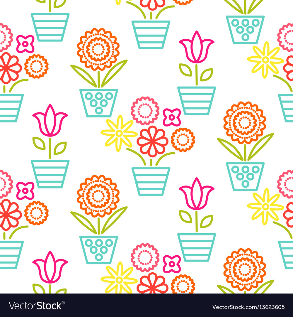Colorful line flower pots seamless