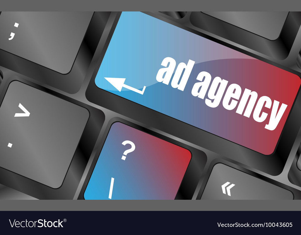 computer keyboard with word ad agency royalty free vector