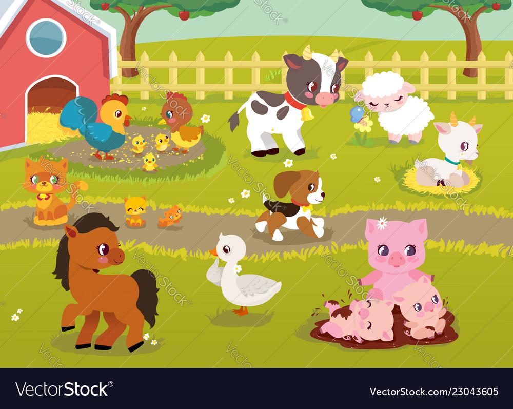 Cute baby farm animals with village landscape