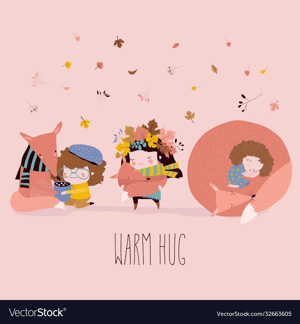 Cute cartoon girls hugging foxes best friends