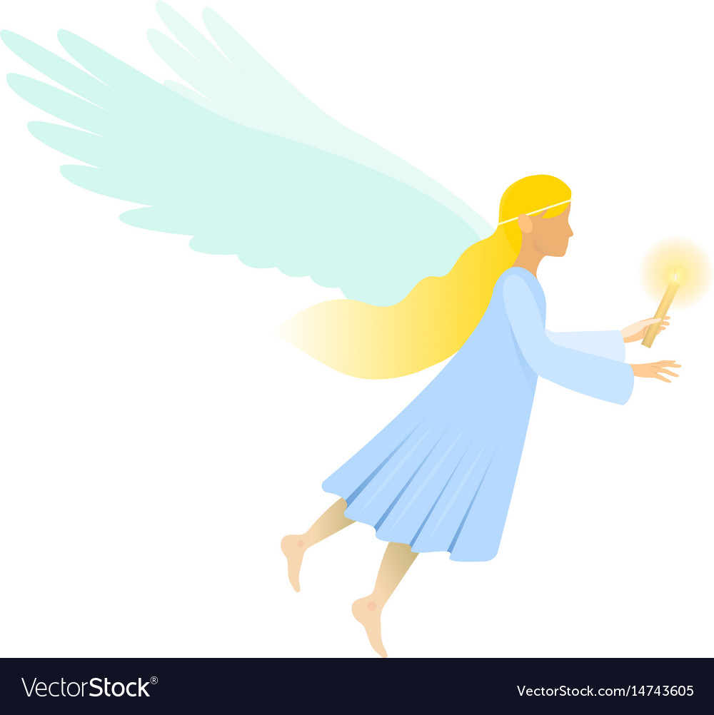 Female angel with candle vector image