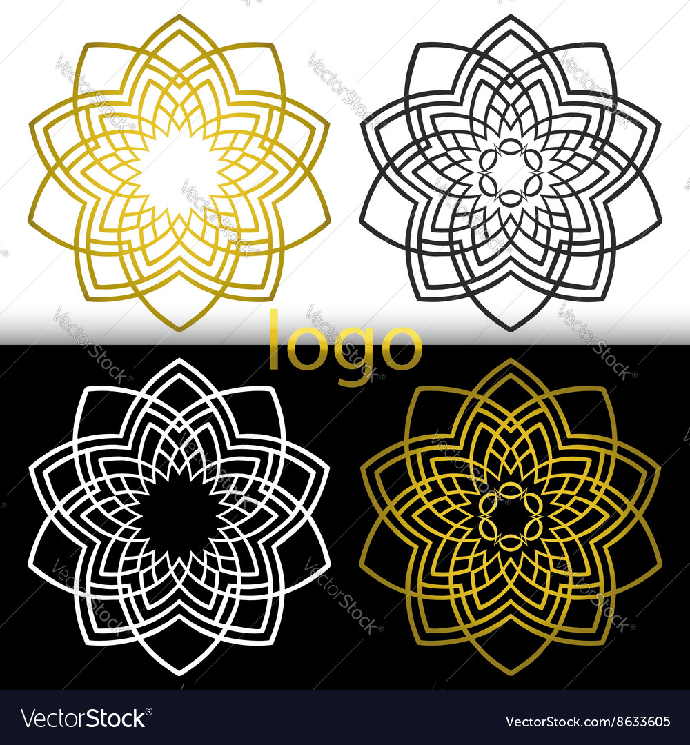 Graphic geometric goldenwhite black flower symbol