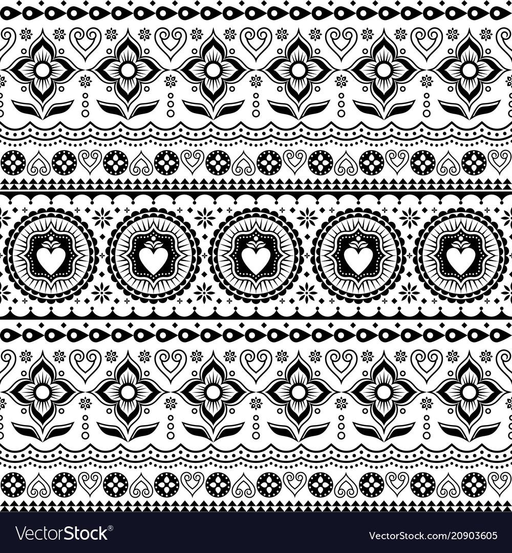 Indian trucks art seamless pattern