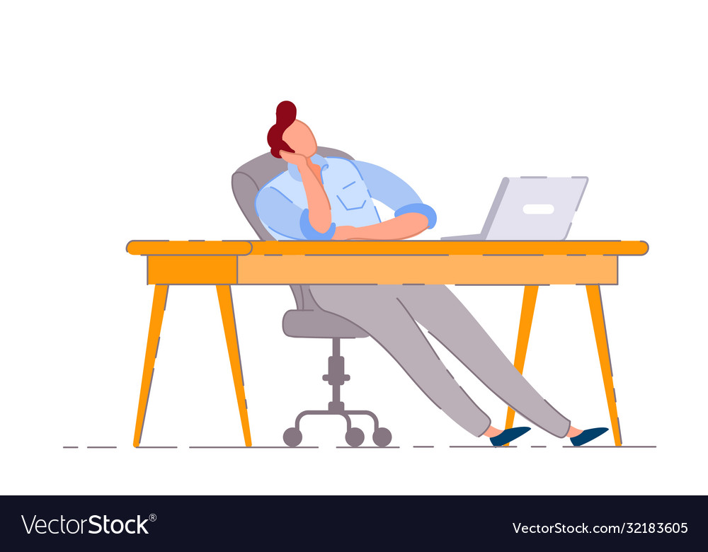 Lazy worker isolated bored business man