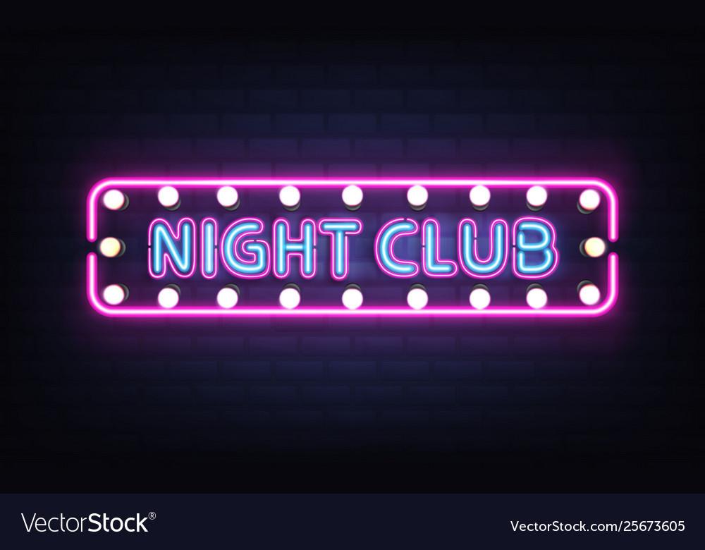 Night club neon retro signboard realistic