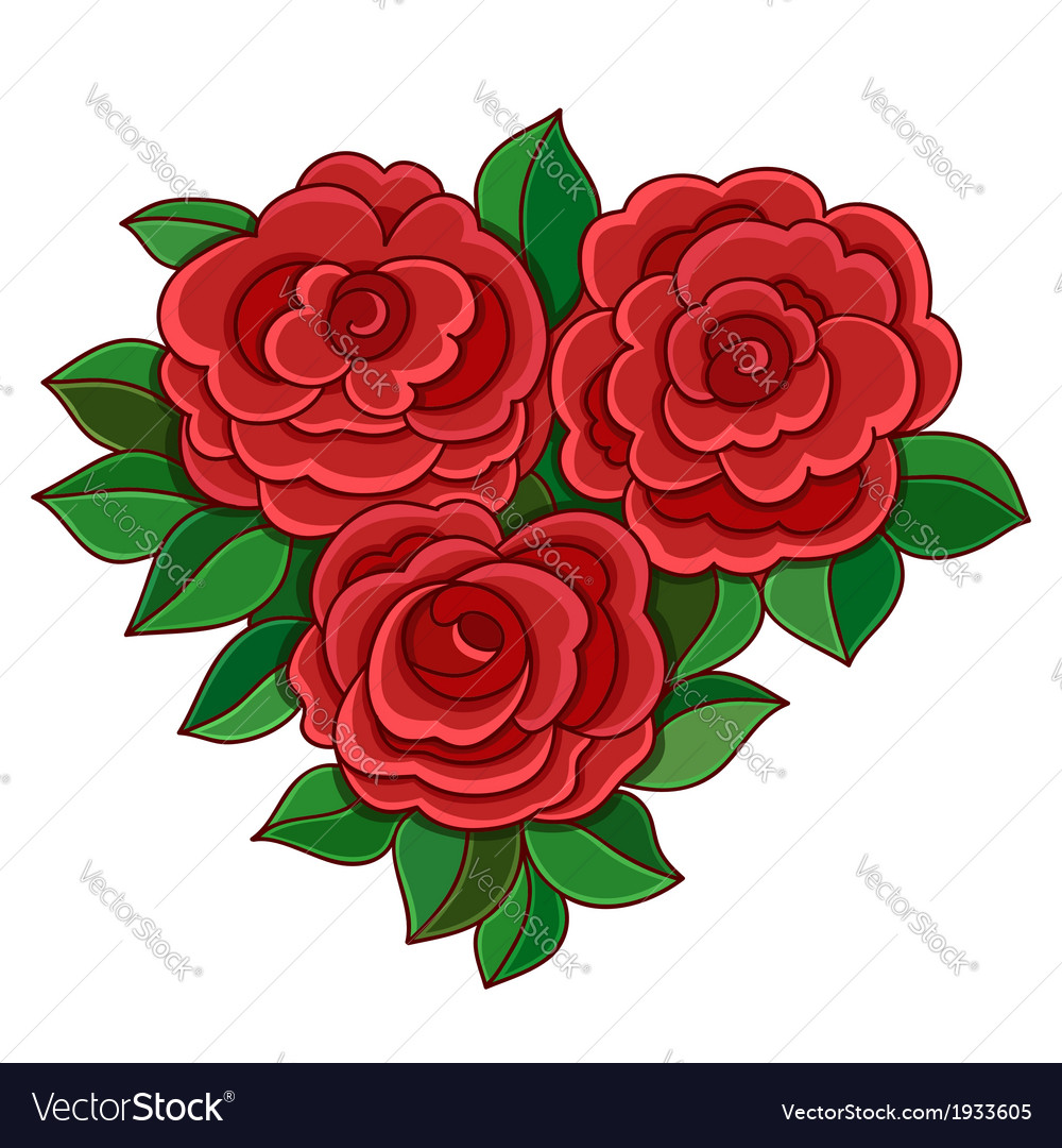 Red Roses With Leaves Isolated On White Background