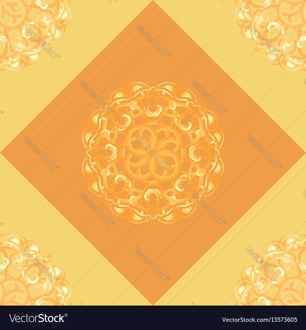 Seamless pattern with orange ornamental decor