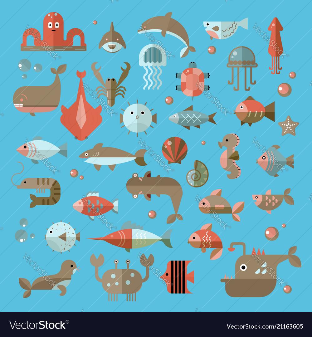 Set flat sealife elements plants and
