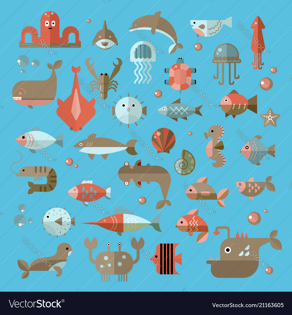 Set of flat sealife elements plants and