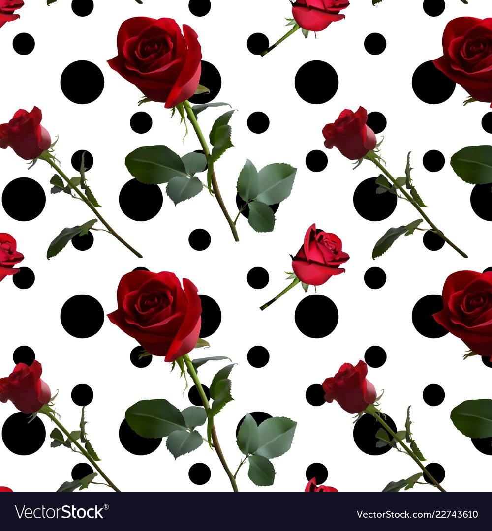 A pattern with red roses with green leaves and a