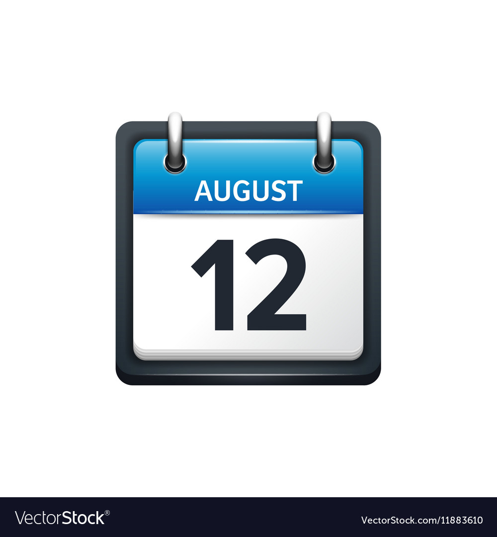 August 12 Calendar icon flat