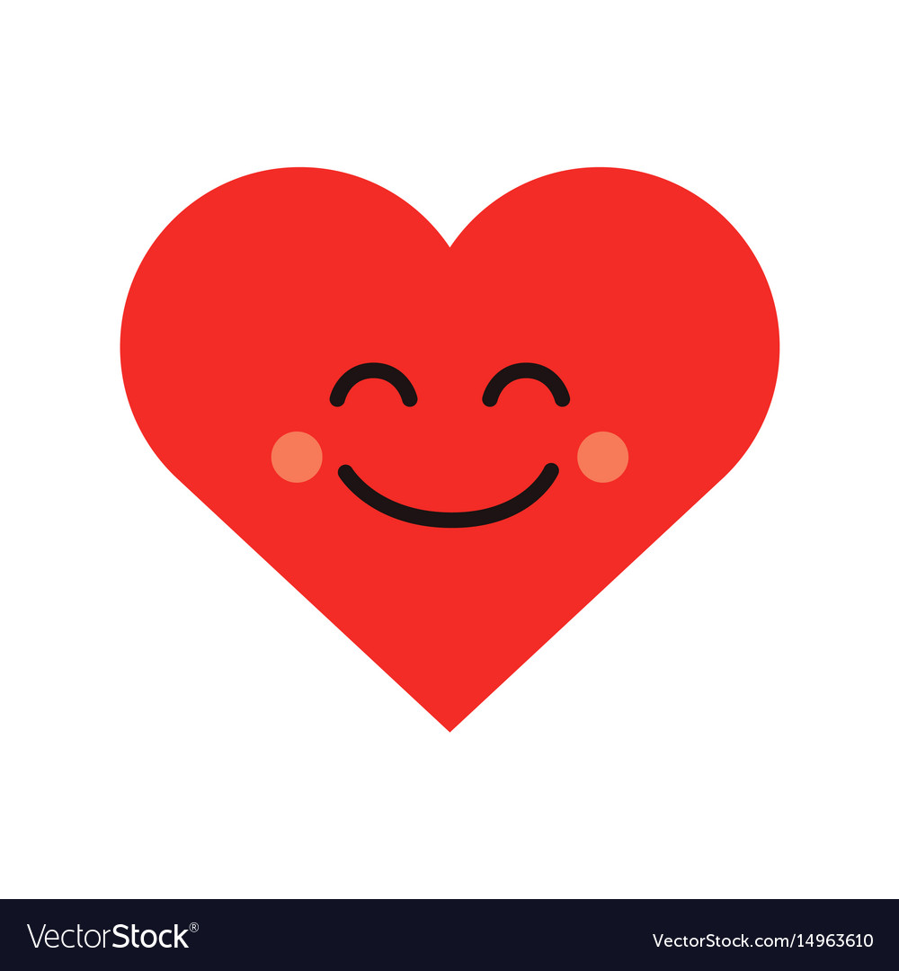 Cute heart emoji smiling face icon