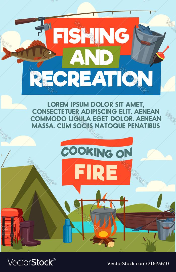 Fishing and recreaton cartoon poster