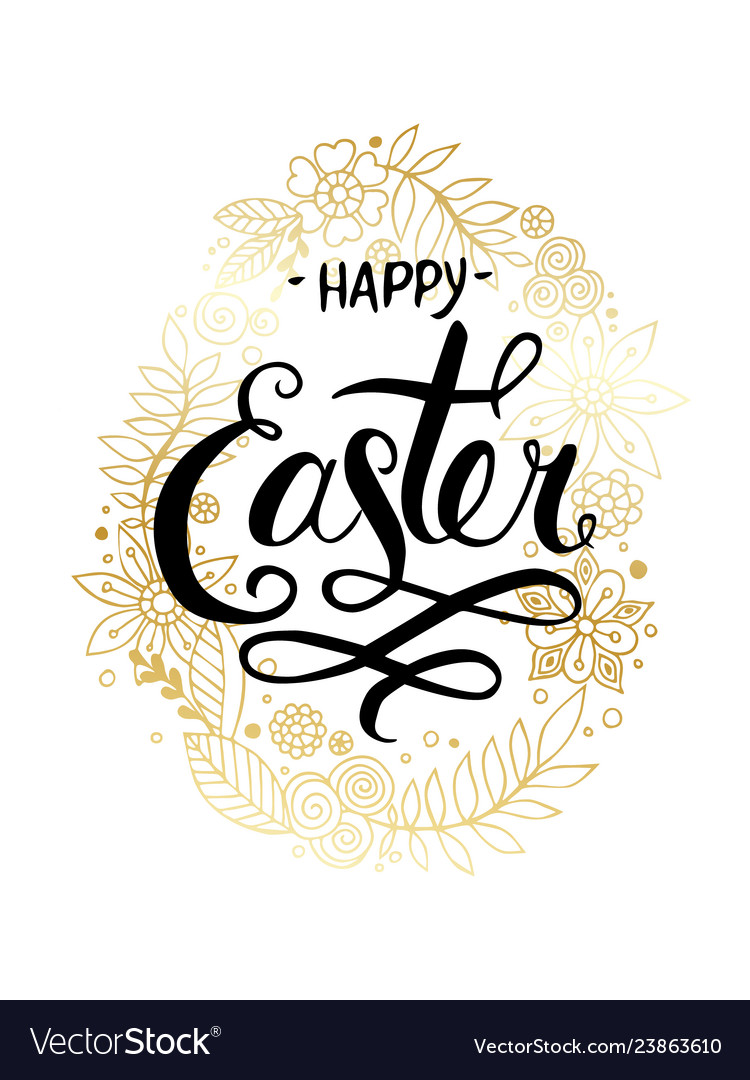 Happy easter hand drawn calligraphy and brush pen